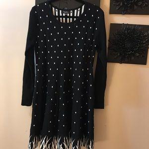 Papillon black and white knit polka dot flaredress